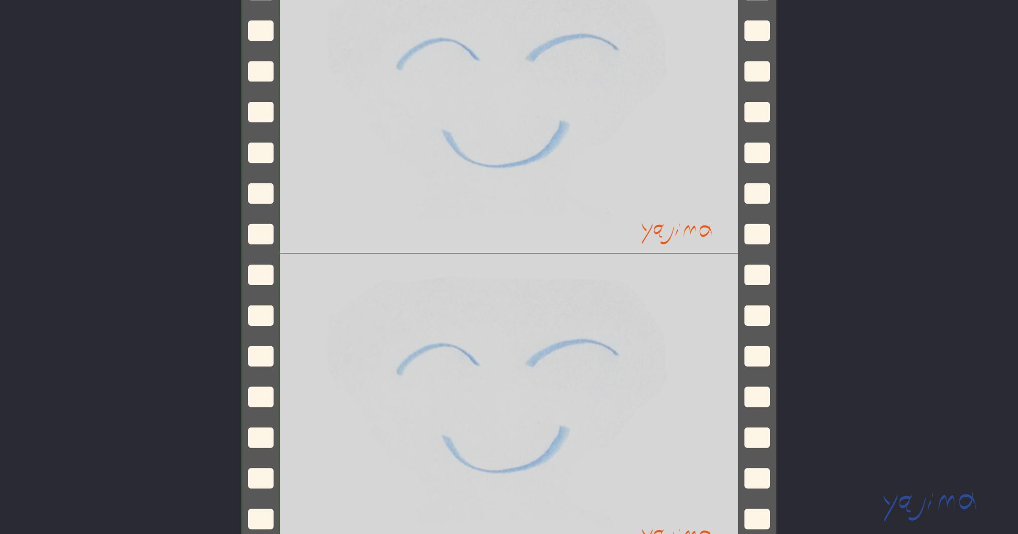 パーフォレーションperforations付きの映画や写真など撮影用フィルムが2コマ。そこにニッコリ笑顔のイラストが写っています。よくみるとETに似ている?『プロセスを映画のように描きます(記述法)』より。