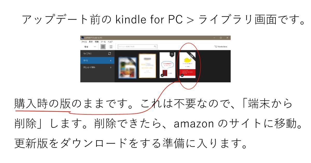 アップデート前のkindle for PC >ライブラリ画面です。購入時の版のままです。これは不要なので、「端末から削除」します。削除できたら、amazonのサイトに移動。更新版をダウンロードをする準備に入ります。