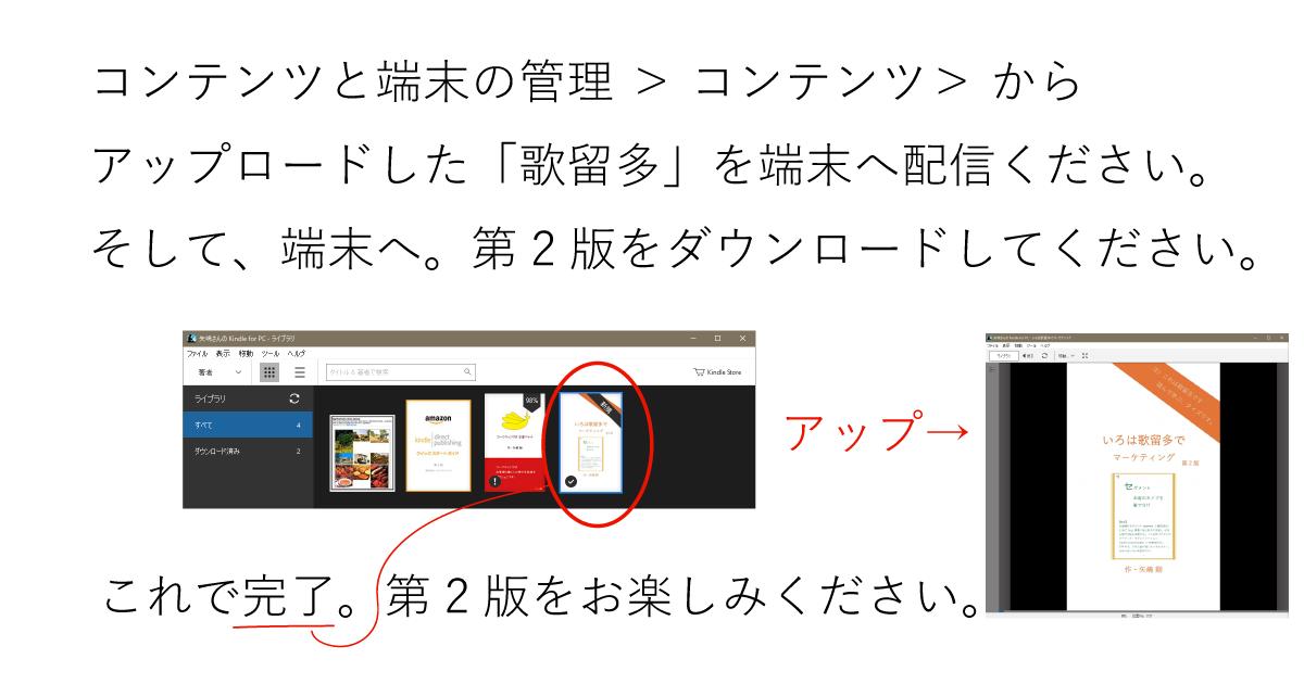 コンテンツと端末の管理 > コンテンツ> から_アップロードした「歌留多」を端末へ配信ください。そして、端末へ。第2版をダウンロードしてください。これで完了。第2版をお楽しみください。