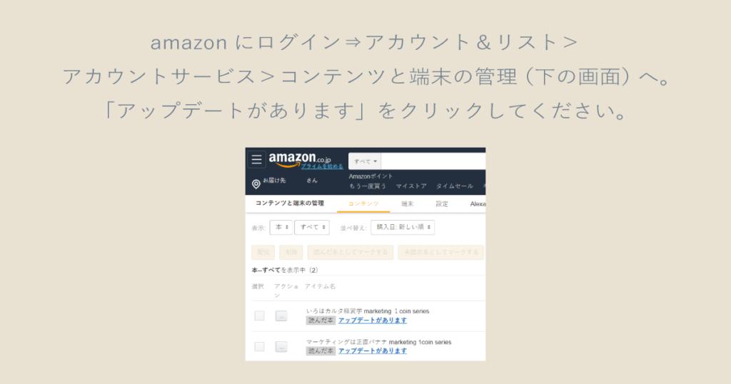 矢嶋ストーリーの電子書籍『マーケティングは正直バナナ』『いろはカルタ経営学』(両方とも著者は矢嶋剛)更新の説明資料です。上部に説明文「amazonにログイン⇒アカウント&リスト>アカウントサービス>コンテンツと端末の管理(下の画面)へ。「アップデートがあります」をクリックしてください。」があり、その下に説明文にあるamazonのサイト画像のコピー(一部)が置かれています。