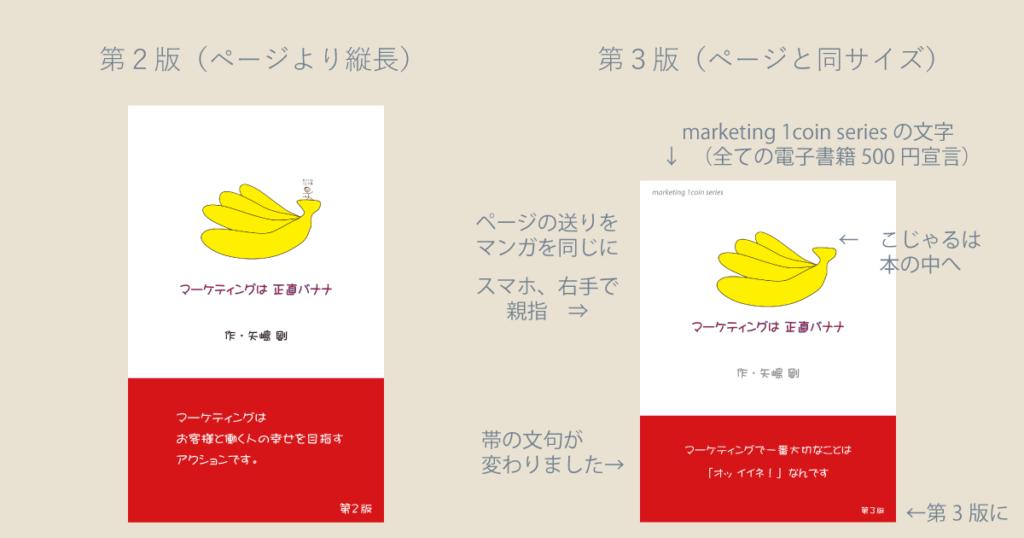 矢嶋ストーリーの電子書籍『マーケティングは正直バナナ』(著者、矢嶋剛)第3版更新の説明資料です。画像の左に第2版の表紙。右に第3版の表紙を置き、第3版更新で何が変更されたかをわかりやすく説明しています。
