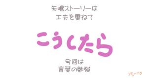 矢嶋ストーリーの投稿用画像です。想うこと篇。画像の中央に「こうしたら」のイラスト文字。その上に「矢嶋ストーリーは(改行)工夫を重ねて」の一文。下には「今回は(改行)言葉の勉強」の文字。ここで何の話かを予告するのです。左下にyajimaのサインがあります。
