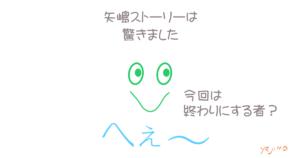 矢嶋ストーリーのブログ「矢嶋ストーリー's news」の投稿用画像です。 へぇ~篇。画像の中央に大笑いした顔(くちばしくん)のイラスト。 その上に「矢嶋ストーリーは(改行)驚きました」の一文。 下には「へぇ~」の文字。イラストの口部分近くに「今回は終わりにする者」の文字。 終わりにする者。英語でいうとterminator(ターミネーター)。 今回は、映画『ターミネーター:ニューフェイト』Terminator: Dark Fate に込められた 社会的メッセージについて書きました。鑑賞記パート2です。
