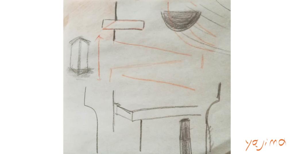 ブログ・矢嶋ストーリーnewsの「ル・コルビュジェ の 継続は力」という記事のOGP画像です。 この記事は、上野の国立西洋美術館で開催された『ル・コルビュジェ展』の 感想記です。彼、近代建築の巨匠ですが、絵は下手くそです。 でも空間に対するセンスは抜群。インスピレーションを感じます。 観終わった直後に、ベンチで描いた<わたし>の心象をこのOGP画像に 使います。彼は、こんなイメージを繰り返し描いていました。矢嶋剛・画。