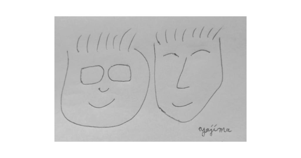 ブログ・矢嶋ストーリーnewsの「サンドウィッチマンの傑作コント」という記事のOGP画像です。 この記事では、サンドウイッチマン(伊達みきおさん、富澤たけしさん)のコントの 中で大好きな三作品を勝手に紹介しています。ですからOGP画像は お二人に似ても似つかない似顔絵で決めてみました。矢嶋剛・画。